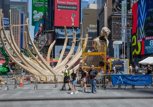 WAKE sculpture installed in Times Square