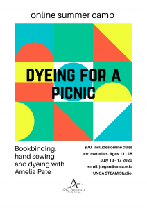 Flyers for online summer camps. Rockin' Paper Scissors, Hammer Time and Dyeing for a Picnic